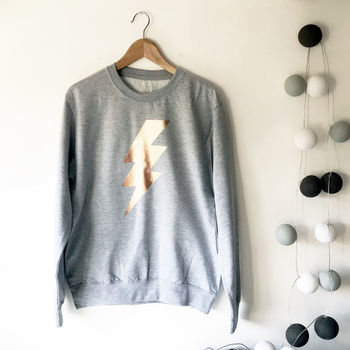 Metallic Lightening Bolt Boyfriend Sweatshirt