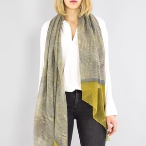 Personalised Or Monogrammed Olive To Grey Scarf - womens