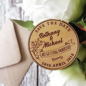 Floral Wooden Wedding Save The Date Magnet