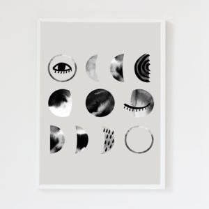 Luna Moon Phases Cool Grey Art Print