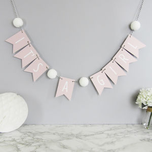 'It's A Girl' Bunting With Pom Poms - decoration