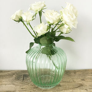 Vintage Glass Ribbed Vase - tableware