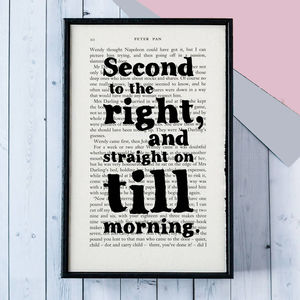 Peter Pan 'Second To The Right' Quote Print - children's room