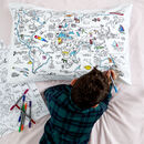world map pillowcase to colour in