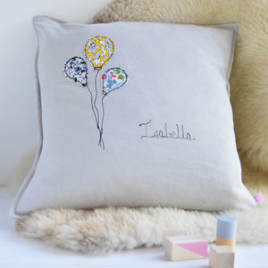 Personalised New Baby Balloon Cushion