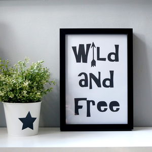 'Wild And Free' Wall Print - pictures & prints for children