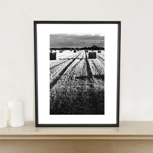 Straw Bales, Occold, Suffolk, Art Print - nature & landscape
