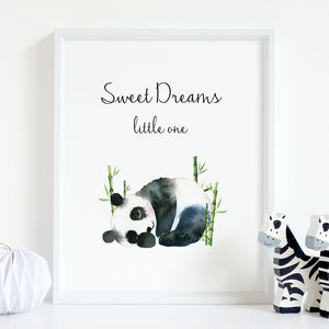 'Sweet Dreams' Cute Panda Nursery Print