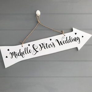 Personalised Arrow Heart Sign - art & decorations