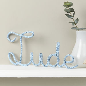 Personalised Name Sign Knitted And Wire Baby Blue - children's room accessories