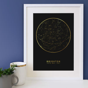 Black And Gold Personalised Map Of The Stars - gifts to squirrel away for the kids