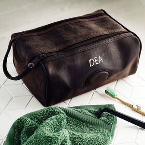 Personalised Men's Wash Bag - 3rd anniversary: leather