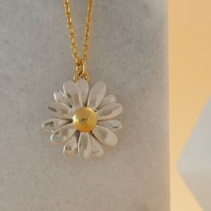Two Tone Sterling Silver Large Daisy Pendant