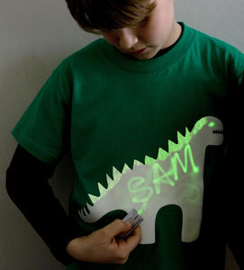 Dinosaur Glow In The Dark Interactive Kids T Shirt - clothing