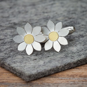 Dahlia Cufflinks In Solid Silver And 18ct Gold