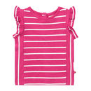 Girls Summer Pink Stripe Short Sleeved Ruffle Vest Top