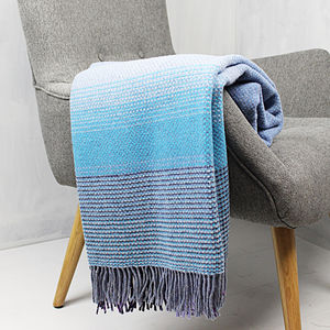 Blue And Purple Merino Wool And Cashmere Throw
