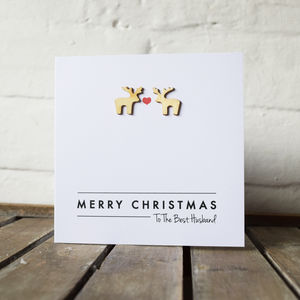 Personalised Wooden Reindeer Christmas Card