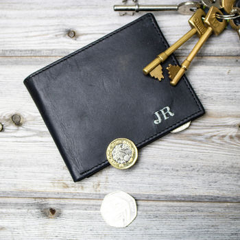 Personalised Leather Wallet In Ebony Black