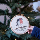 Personalised Robin Christmas Tree Hoop Decoration