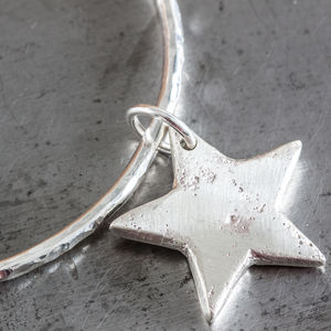 Personalised Large Star Charm Hammered Bangle