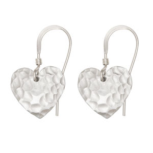 Small Matt Silver Hammered Heart Earrings - earrings