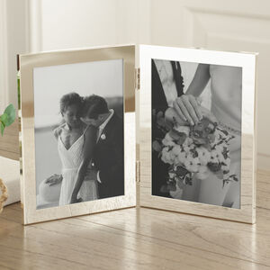 Silver Plated Folding Double Photo Frame