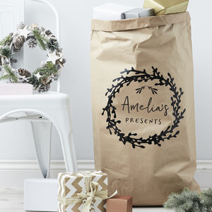 Mistletoe Wreath Personalised Christmas Sack - christmas decorations
