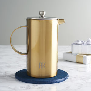 Personalised Initials Gold Double Walled Cafetiere - gifts for him sale