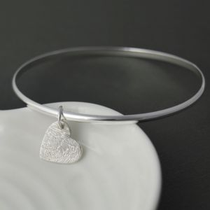 Silver Fingerprint Charm Bangle