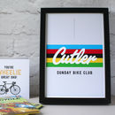 Personalised Cycling World Champion print black frame