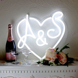 Personalised Wedding LED Neon Sign - decorative letters