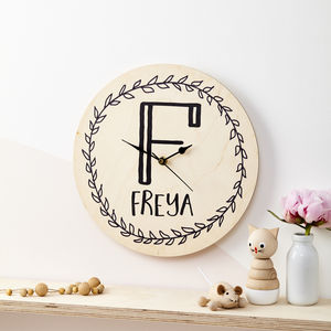 Personalised Initial Wreath Children's Clock - living room