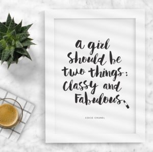 'Classy And Fabulous' Black And White Coco Chanel Quote - typography