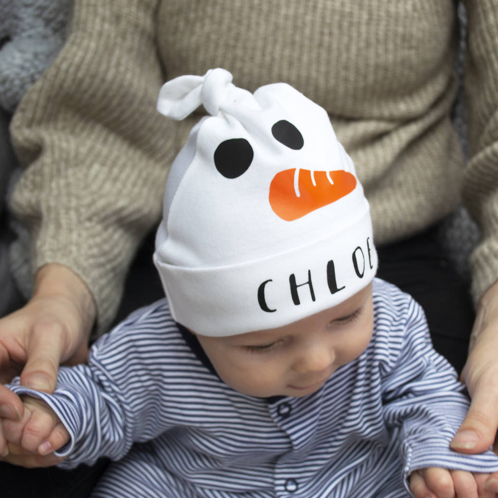 personalised baby snowman hat by solesmith  c99629bfca9