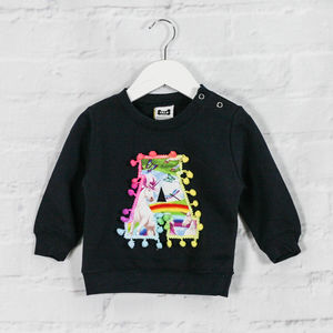 Personalised Baby Sweatshirt With Unicorn Print Letter