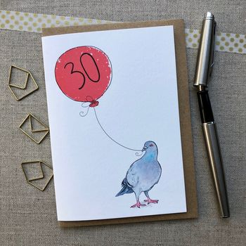 Personalised 30th Birthday Pigeon Card