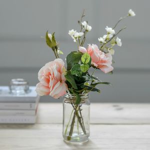 Faux Blossom And Peach Rose Posy With Vintage Jar Vase - artificial flowers