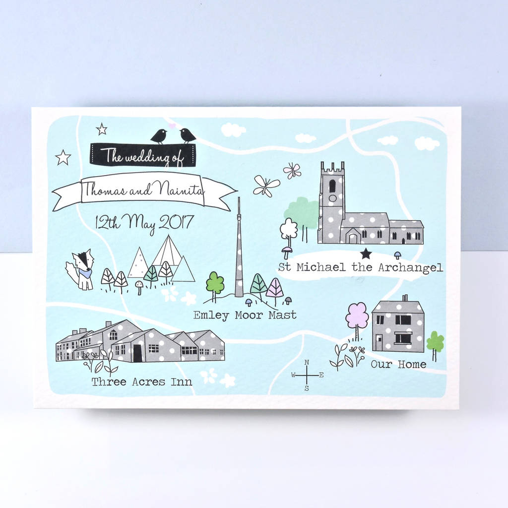 bespoke illustrated map wedding invitation by paper and inc