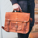 Vintage Style Leather Satchel - Medium Size