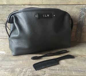 Large Slate Grey Leather Wash Bag