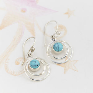 Turquoise Infinity Drop Earrings - earrings