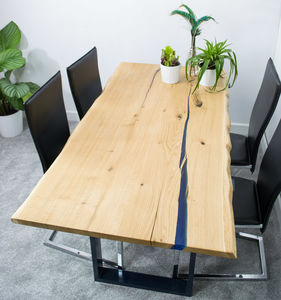 Resin Void Fill Oak Slab Dining Table - dining room