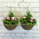 Set Of Two Artificial Azalea Topiary Hanging Baskets