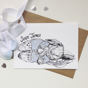 Personalised Boy Baby Bunny Greeting Card - new baby cards