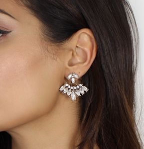 Front And Back Rhinestone Statement Earrings - earrings