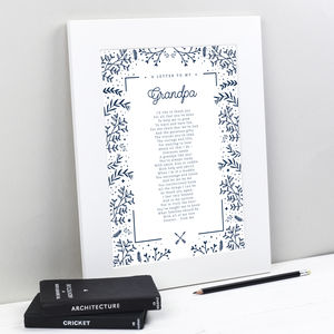 Personalised Poem Print For Grandad Or Grandpa