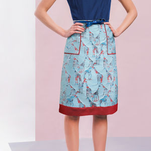 Riviera Skirt In Blue Giraffe Jacquard