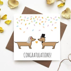 Dachshund Wedding Card - wedding cards