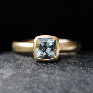 Cushion Cut Aquamarine Ring - rings